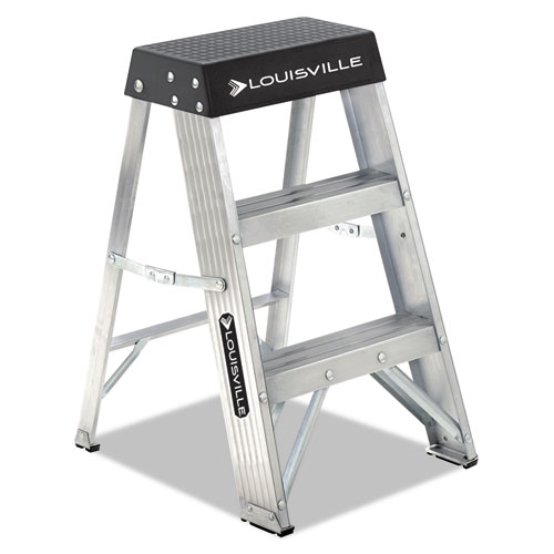 Aluminum Step Stool, 2-Step, 17w x 18.25 Spread x 26h, Aluminum/Black | by Plexsupply