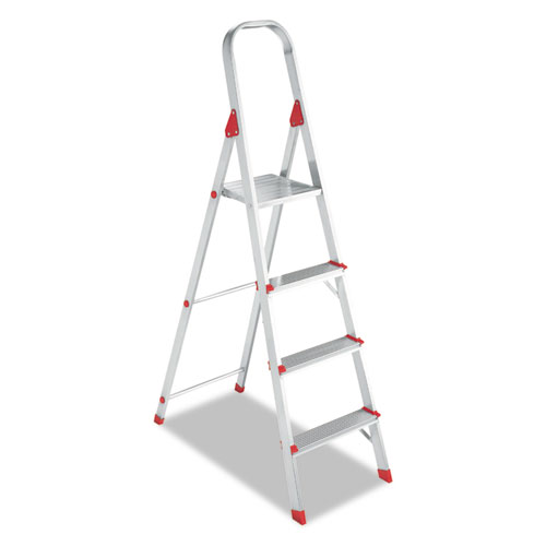 Aluminum Euro Platform Ladder, 8 ft Working Height, 200 lbs Capacity, 4 Step, Aluminum/Red | by Plexsupply