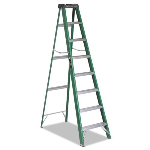 Fiberglass Step Ladder, 8 ft Working Height, 225 lbs Capacity, 7 Step, Green/Black | by Plexsupply