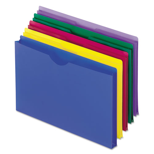 Poly File Jackets, Straight Tab, Legal Size, Assorted Colors, 5/Pack | by Plexsupply