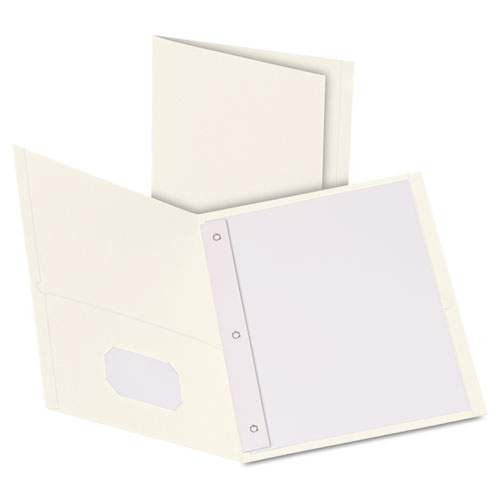 "Oxford™ Twin-Pocket Folders with 3 Fasteners, Letter, 1/2"" Capacity, White, 25/Box"