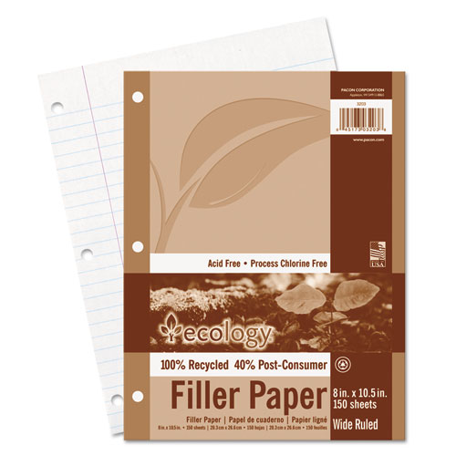 Ecology Filler Paper, 3-Hole, 8 x 10.5, Wide/Legal Rule, 150/Pack