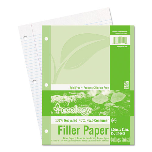 Ecology Filler Paper, 3-Hole, 8.5 x 11, Medium/College Rule, 150/Pack