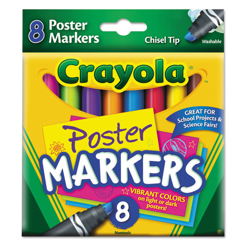 Washable Poster Markers, Assorted, 8/Pack 588173