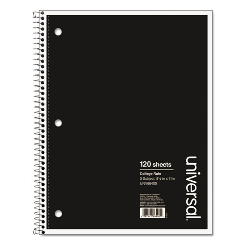 Wirebound Notebook, 3 Subjects, Medium/College Rule, Black Cover, 11 x 8.5, 120 Sheets | by Plexsupply