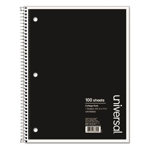 Wirebound Notebook, 1 Subject, Medium/College Rule, Black Cover, 11 x 8.5, 100 Sheets | by Plexsupply
