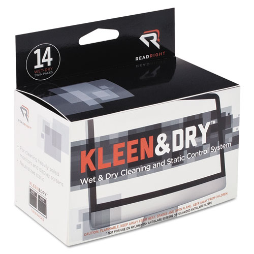 Two Step ScreenKleen Wet and Dry Cleaning Wipes, 5 x 5, 14/Box
