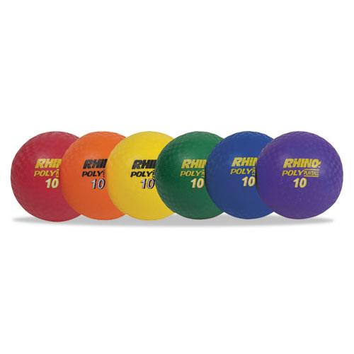 Rhino Playground Ball Set, 10 Diameter, Rubber, Assorted, 6 Balls/Set