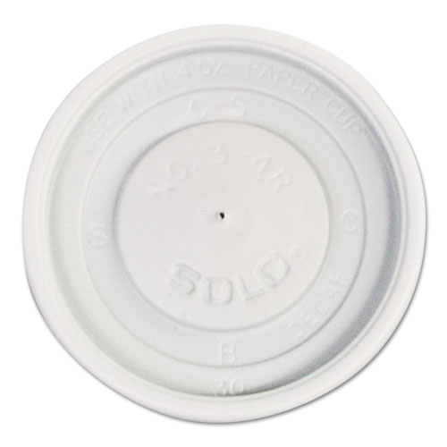 Polystyrene Vented Hot Cup Lids, 4oz Cups, White, 100/Pack, 10 Packs/Carton VL34R0007