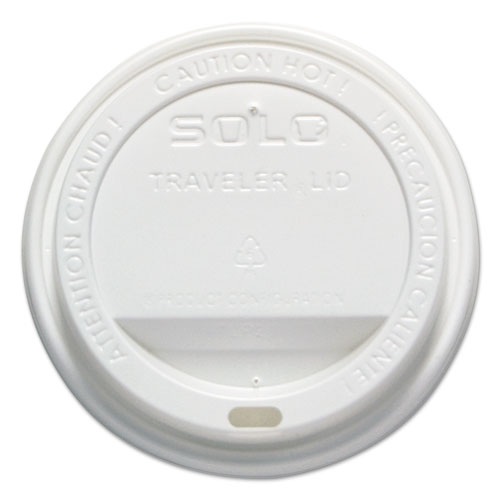 Traveler Drink-Thru Lid, 12-16oz Hot Cups, White, 50/Pack, 6 Packs/Carton | by Plexsupply