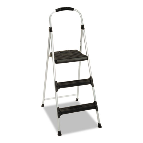 "Cosco® Aluminum Step Stool, 3-Step, 225 lb Capacity, 28.45"" Working Height, Platinum/Black"