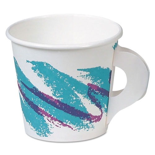 SSP Paper Hot Cups, With Handle, 4oz, Jazz Design, 50/Pack, 20 Packs/Carton 374HJZJ