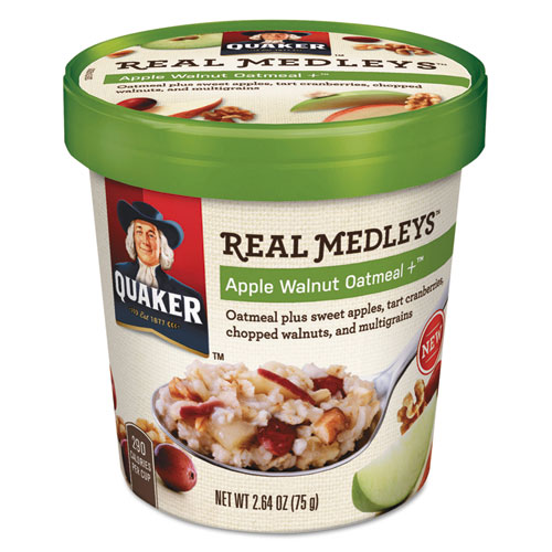 Quaker® Real Medleys Oatmeal, Apple Walnut Oatmeal+, 2.64oz Cup, 12/Carton