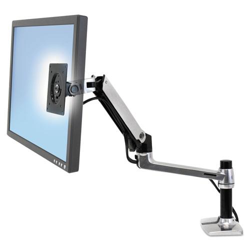 LX Series LCD Arm, Desk Mount, 11.25w x 7.25d x 25.5h, Polished Aluminum/Black | by Plexsupply