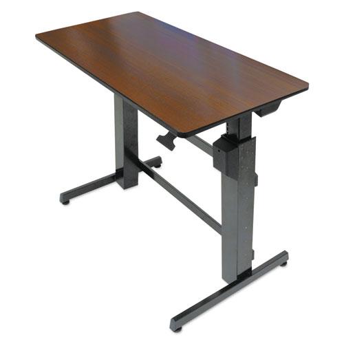 "WorkFit™ by Ergotron® WorkFit-D Sit-Stand Desk, 47.63"" x 23.5"" x 30.63"" to 50.63"", Walnut/Black"