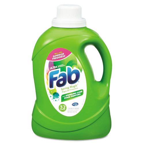 Fab® 2X HE Liquid Laundry Detergent, Spring Magic, 50oz, Bottle, 6/Carton