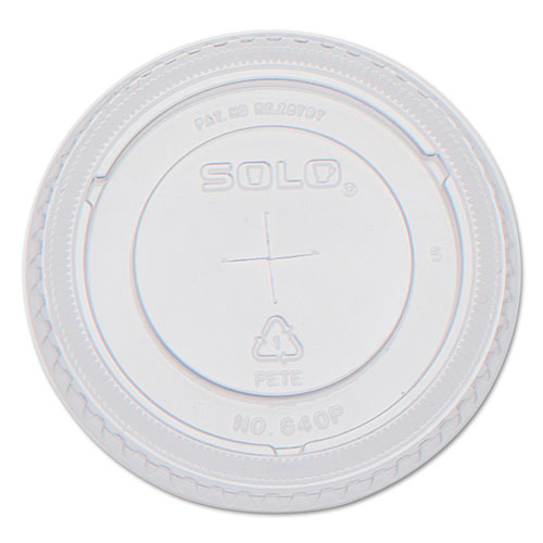 PETE Flat Straw-Slot Cold Cup Lids, 12oz Cups, Clear, 100/Pack, 25 Packs/Carton 640TS
