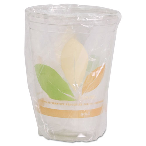 Bare Wrapped RPET Cold Cups, 9oz, Clear With Leaf Design, 500/Carton RTP9DBAREW