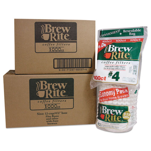 Brew Rite® Basket Filters for Commercial Coffeemakers, 12 Cups, 1,000 Filters/Carton
