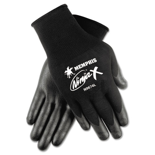 Ninja x Bi-Polymer Coated Gloves, Medium, Black, Pair   by Plexsupply