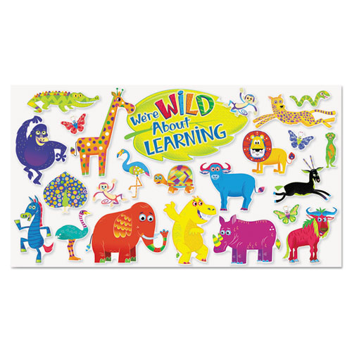 Scholastic Jingle Jungle Animals Bulletin Board Set, Assorted Shapes and Colors