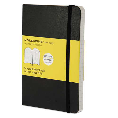 Moleskine® Classic Softcover Notebook, Squared, 5 1/2 x 3 1/2, Black Cover, 192 Sheets