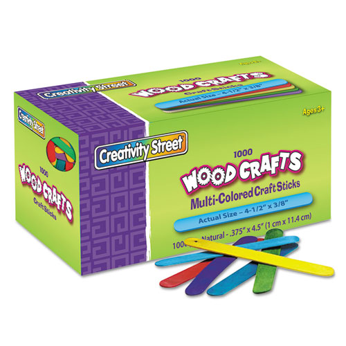 Colored Wood Craft Sticks, 4.5 x 0.38, Wood, Assorted, 1,000/Box
