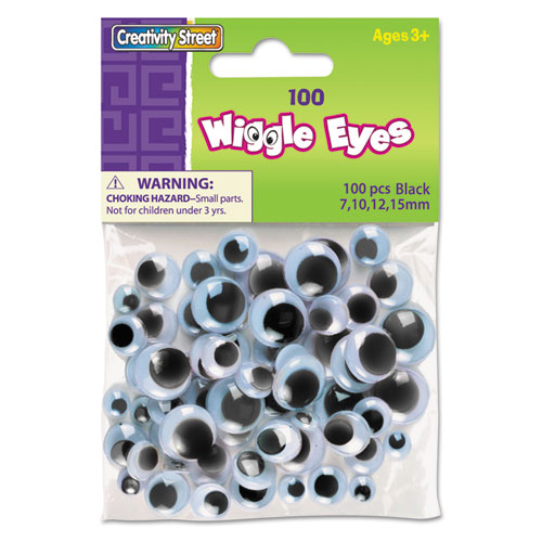 Wiggle Eyes Assortment, Assorted Sizes, Black, 100/Pack