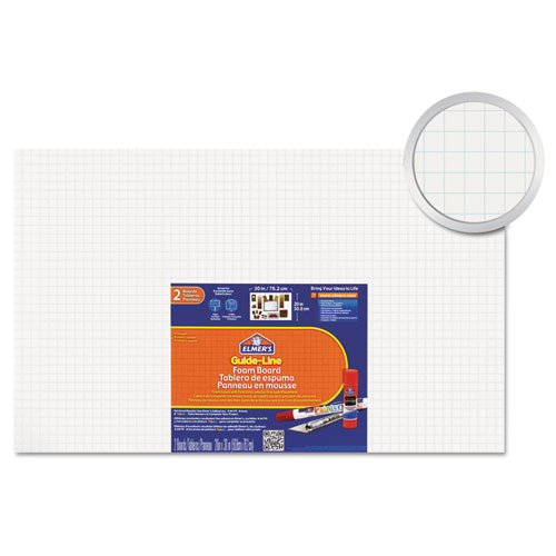 Guide-Line Paper-Laminated Polystyrene Foam Display Board, 30 x 20, White, 2/PK