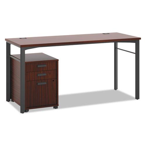 HON® Manage Series Table Desk with Pedestal, 60w x 23-1/2d x 29-1/2h, Chestnut