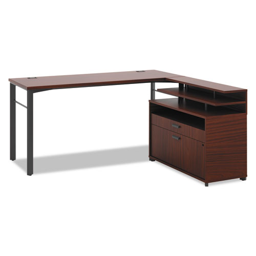 HON® Manage Series L-Station with File Center, 60w x 60d x 29-1/2h, Chestnut