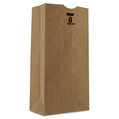 "Grocery Paper Bags, 50 lbs Capacity, #8, 6.13""w x 4.13""d x 12.44""h, Kraft, 500 Bags BAGGH8500"