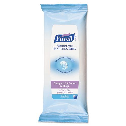 PURELL® Premoistened Hand Sanitizing Wipes, White, Cloth, Ethyl Alcohol, 36/PK, 12 PK/CT