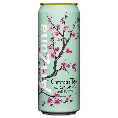 Green Tea with Ginseng  Honey, 23 oz Can, 24/Case