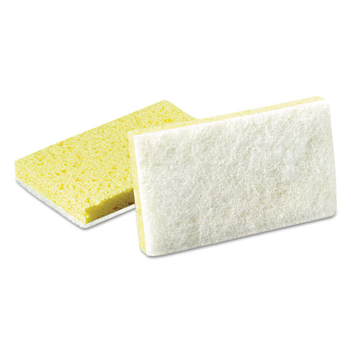 Light-Duty Scrubbing Sponge, #63, 3 1/2 x 5 5/8, Yellow/White, 20/Carton | by Plexsupply