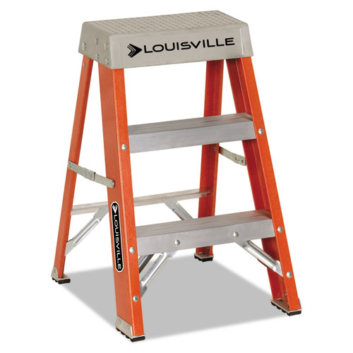 "Fiberglass Heavy Duty Step Ladder, 26"" Working Height, 300 lbs Capacity, 2 Step, Orange 