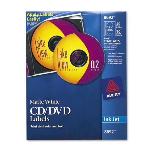 Inkjet CD Labels, Matte White, 40/Pack