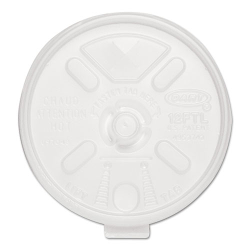 LiftnLock Lids, 10-14oz Cups, Translucent, 100/Sleeve, 10 Sleeves/Carton