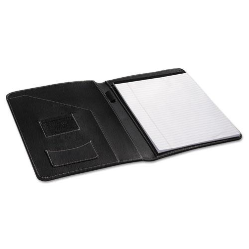 Leather-Look Pad Folio, Inside Flap Pocket w/Card Holder, Black