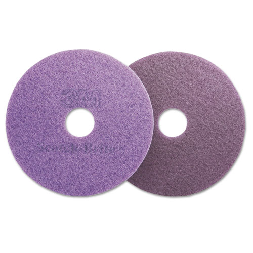 Diamond Floor Pads, Burnish/Buff, 20 Diameter, Purple, 5/Carton