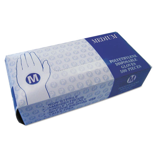 Inteplast Group Embossed Polyethylene Disposable Gloves, Medium, Powder-Free, Clear, 2000/Carton