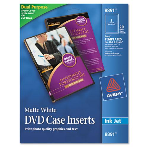 Inkjet DVD Case Inserts, Matte White, 20/Pack