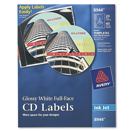 Inkjet Full-Face CD Labels, Glossy White, 20/Pack