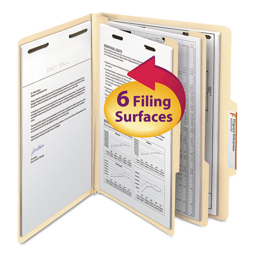 Manila Four- and Six-Section Top Tab Classification Folders, 2 Dividers, Letter Size, Manila, 10/Box | by Plexsupply