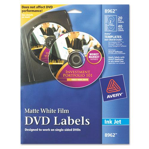 Inkjet DVD Labels, Matte White, 20/Pack