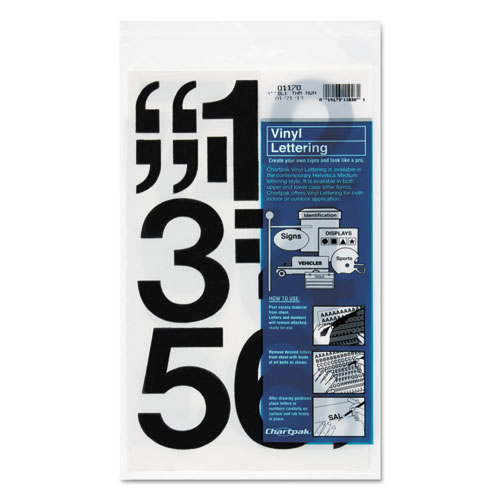 "Press-On Vinyl Numbers, Self Adhesive, Black, 3""h, 10/Pack 