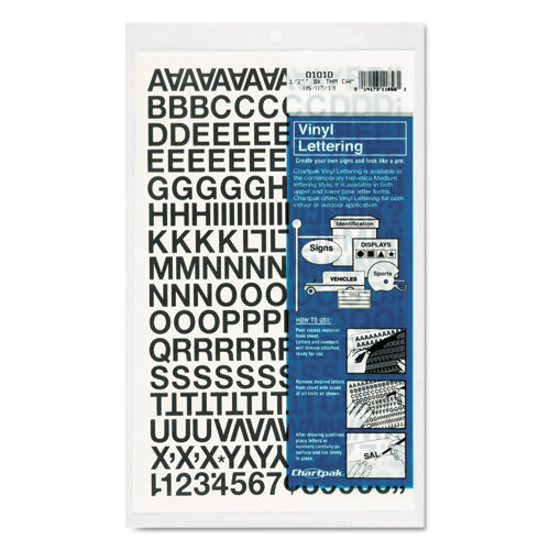 Press-On Vinyl Letters  Numbers, Self Adhesive, Black, 1/2h, 201/Pack
