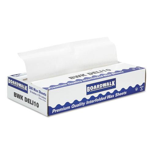 """Boardwalk® Interfold-Sheet Deli Paper, 10"""" x 10 3/4"""", White, 500 Sheets/Box, 12 Box/Carton BWKDELI10"""