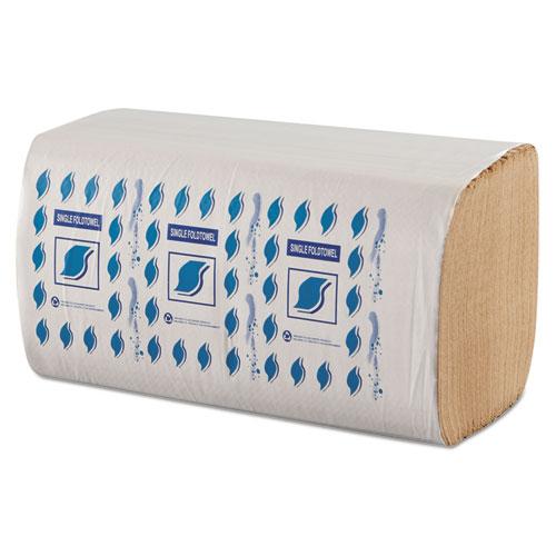 Single-Fold Paper Towels, 1-Ply, Kraft, 9 x 9.25, 12/Carton