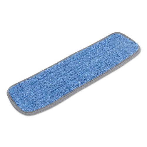 Boardwalk® Microfiber Mop Head, Blue, 18 x 5, Split Microfiber, Hook & Loop Back, Dozen